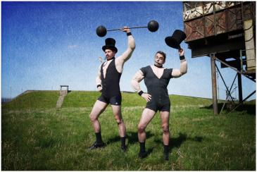 Circus Strongmen Electric Cabaret - Human statues - Living Statues - Entertainers