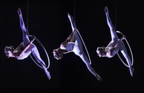 Aerial Hoop Group - Acrobatic Aerial Angels Glow Circus Entertainers